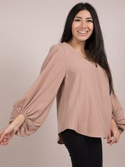 Noelle Blouse V Neck Balloon Long Sleeve Toast