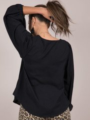 Noelle Blouse V Neck Balloon Long Sleeve Black Back