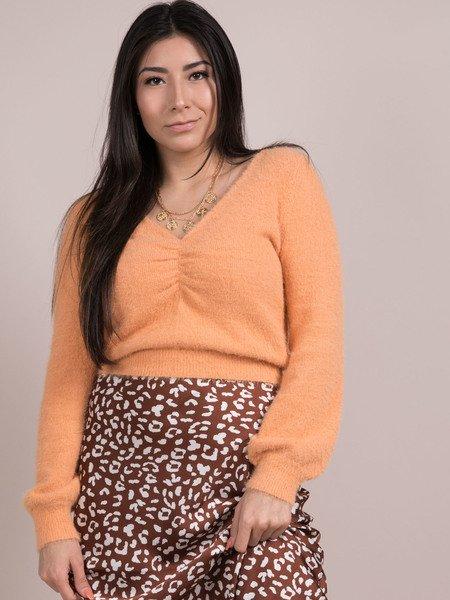 Alina Soft Sweater Ruching Cropped Fuzzy Long Sleeve Apricot