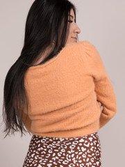Alina Soft Sweater Ruching Cropped Fuzzy Long Sleeve Apricot Back
