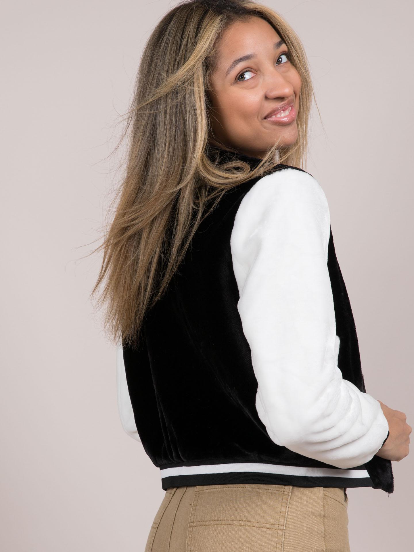Ellie Varsity Jacket Faux Fur Zip Up
