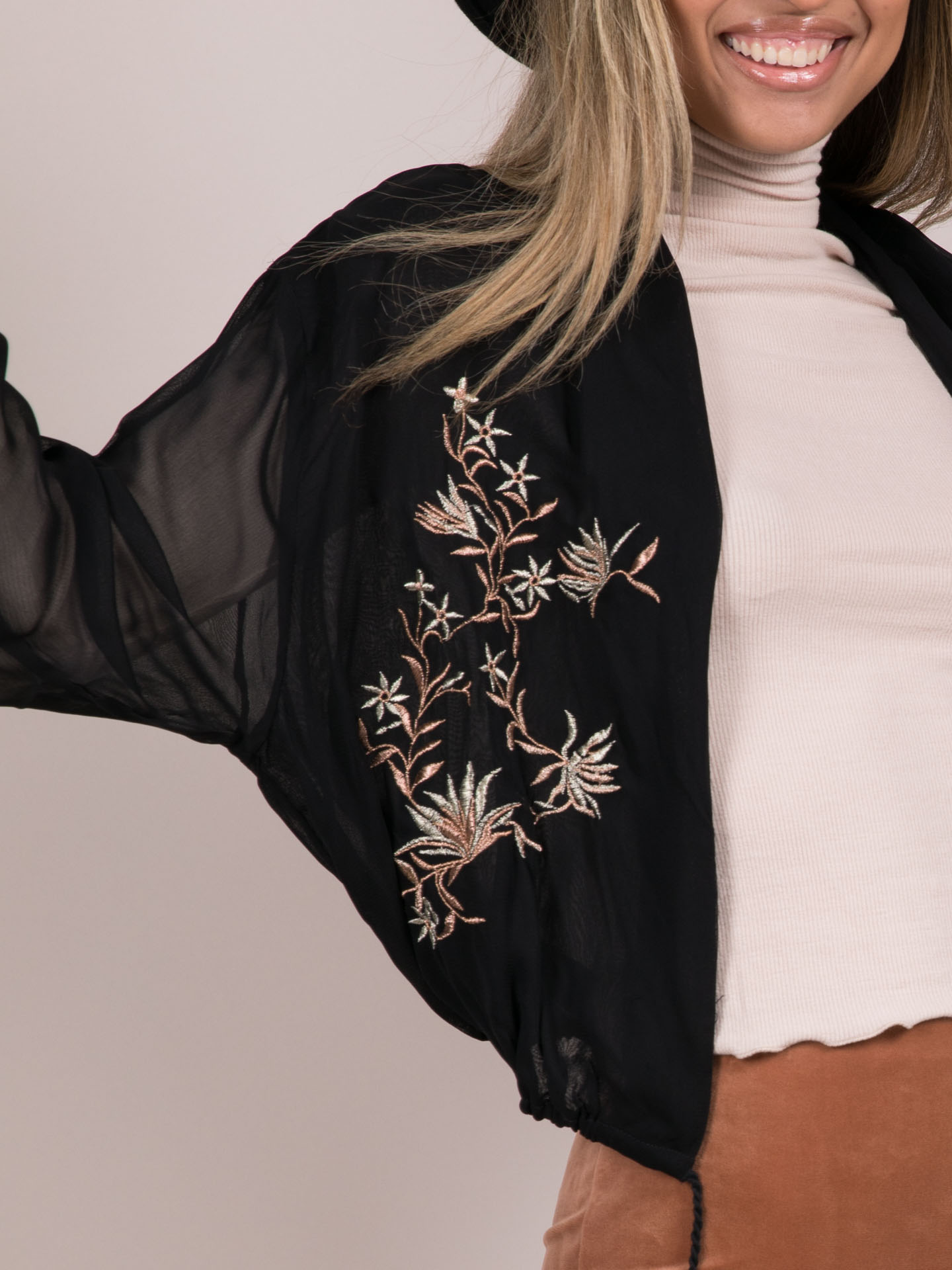 Bella Blouse Cardi Flower Embroidered Mesh Layer