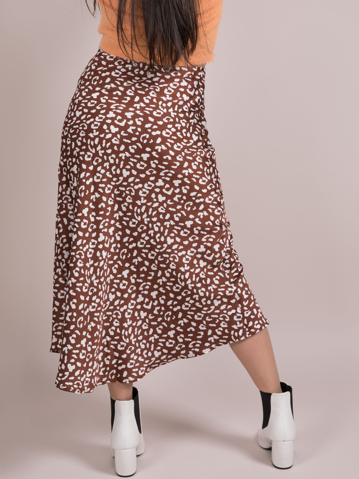Kayla Spot Skirt Satin Midi Spotted Back