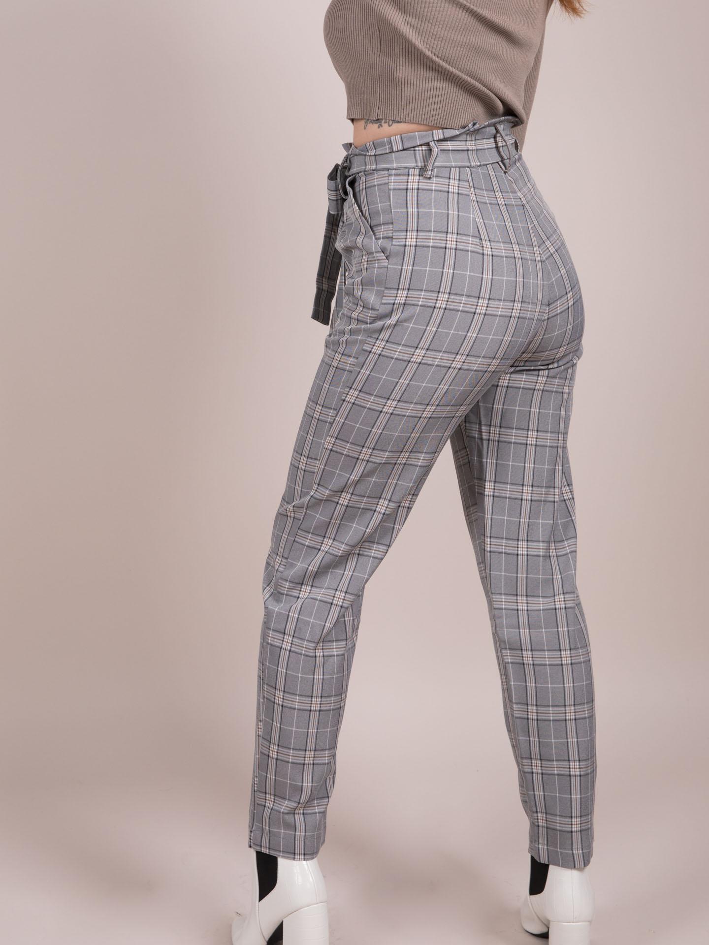 Ximena Plaid Pants High Rise Checkered Bottoms