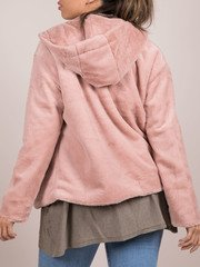 Ava Jacket Blush Pink Soft Faux Fur Coat Back