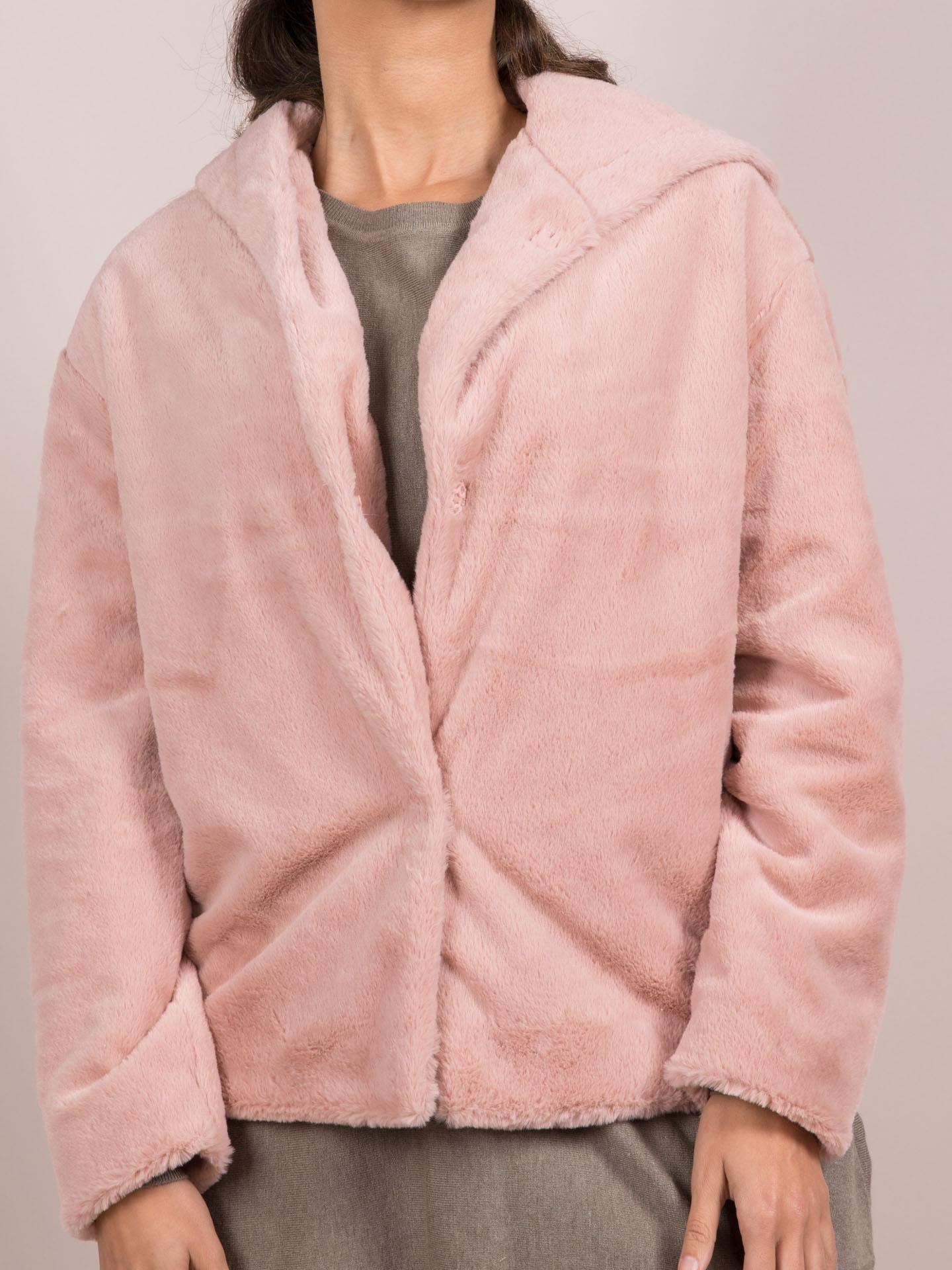 Ava Jacket Blush Pink Soft Faux Fur Coat Front