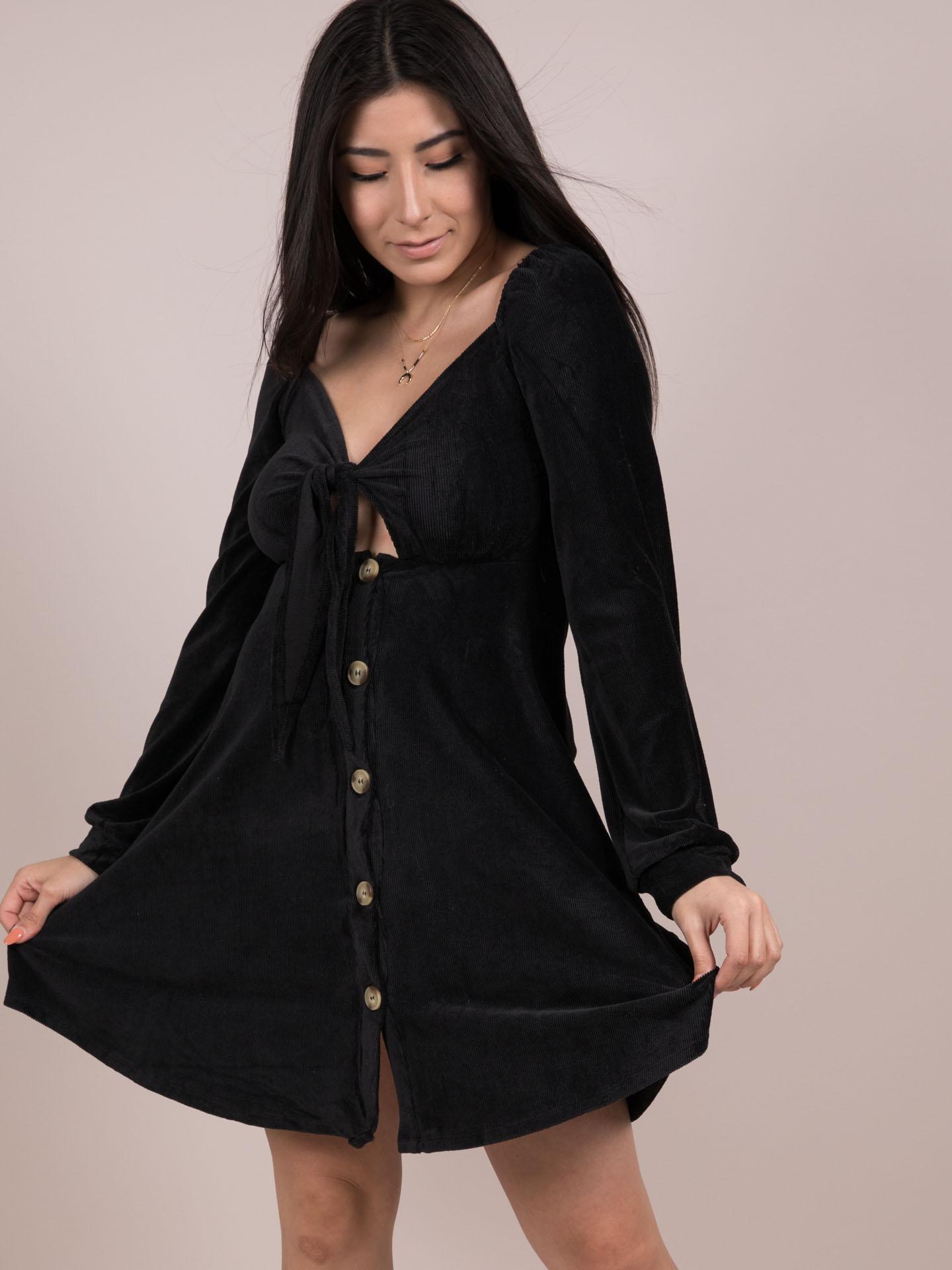 Adalee Dress Velvet Vintage Black Button