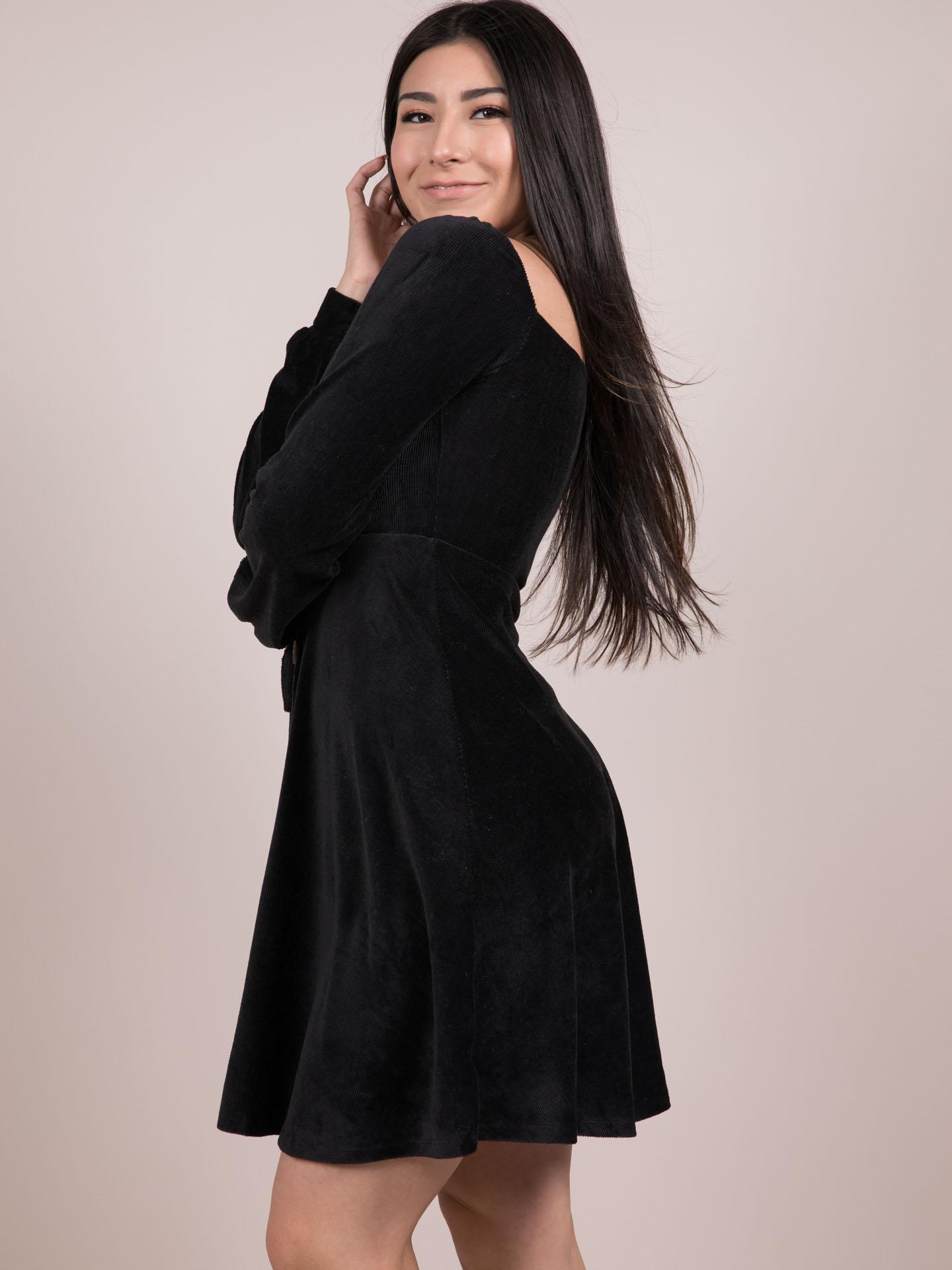 Adalee Dress Velvet Vintage Black Button Side
