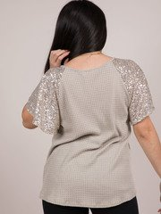 Sparkle Sleeve Top Waffle Knit Sneaky Sparkle V Neck