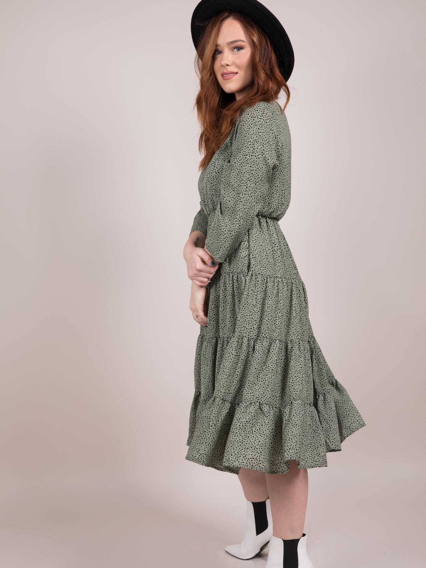 Lia Ruffle Dress Green Prairie Midi Ditsy Floral Side