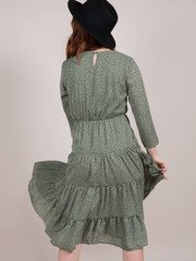 Lia Ruffle Dress Green Prairie Midi Ditsy Floral Back