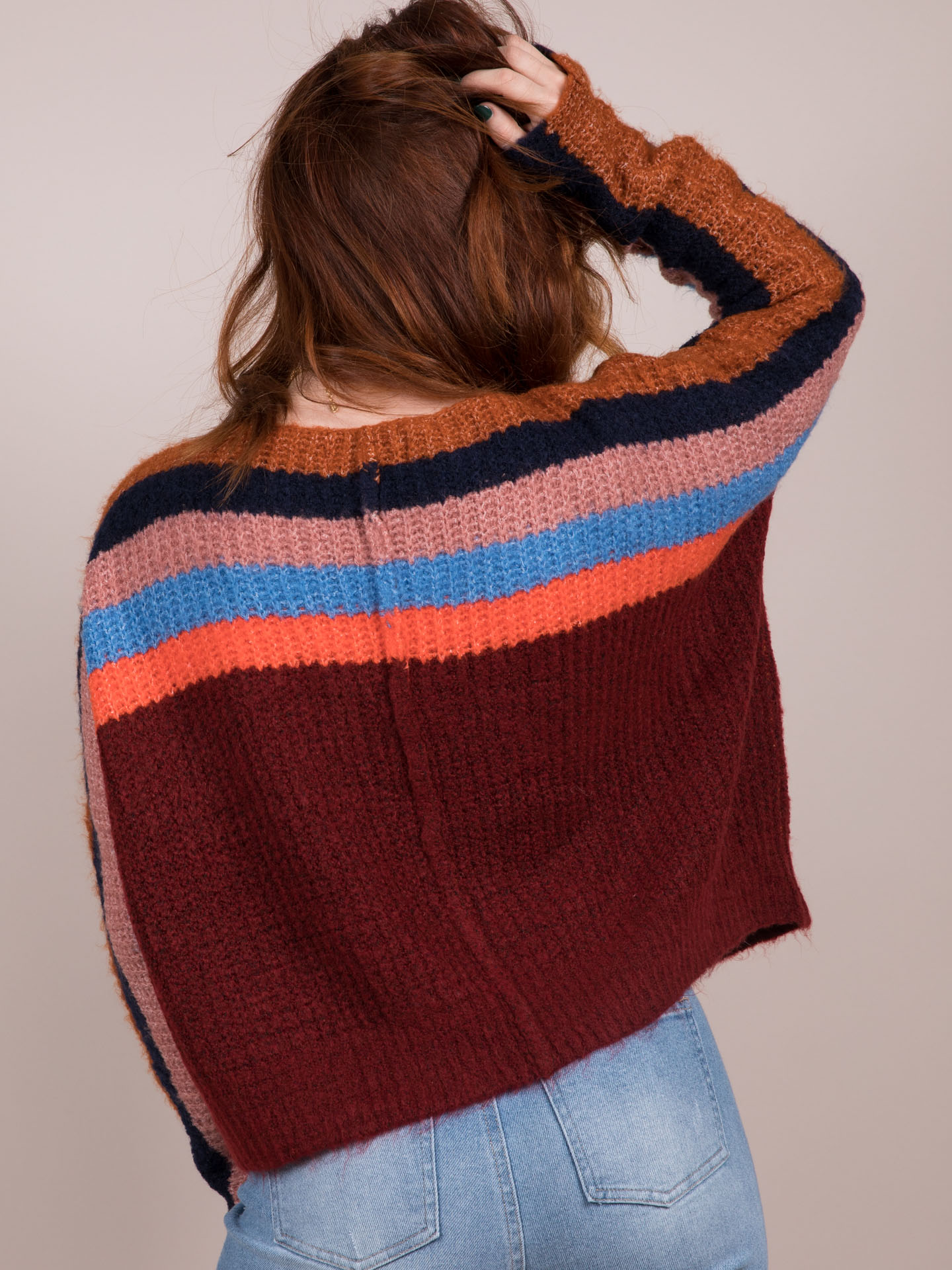 Basket Case Sweater Striped Knitted Back