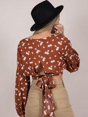 Camille Flower Top Floral Tie Back Crop Back
