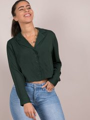 Clarkson Top Forrest Green Button Up