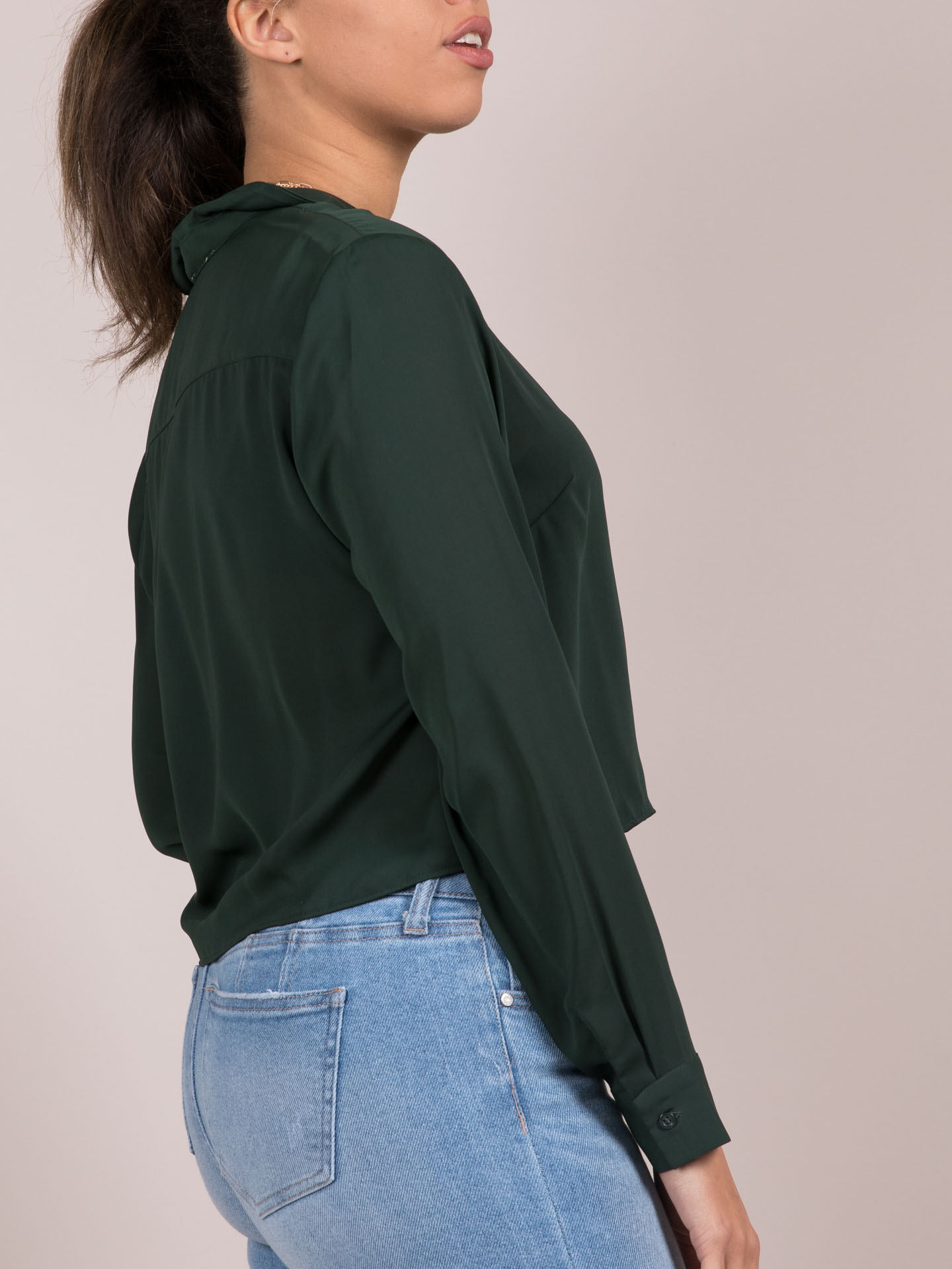 Clarkson Top Forrest Green Button Up Side