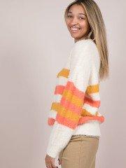 Jayla Sweater Striped Faux Fur Orange Side