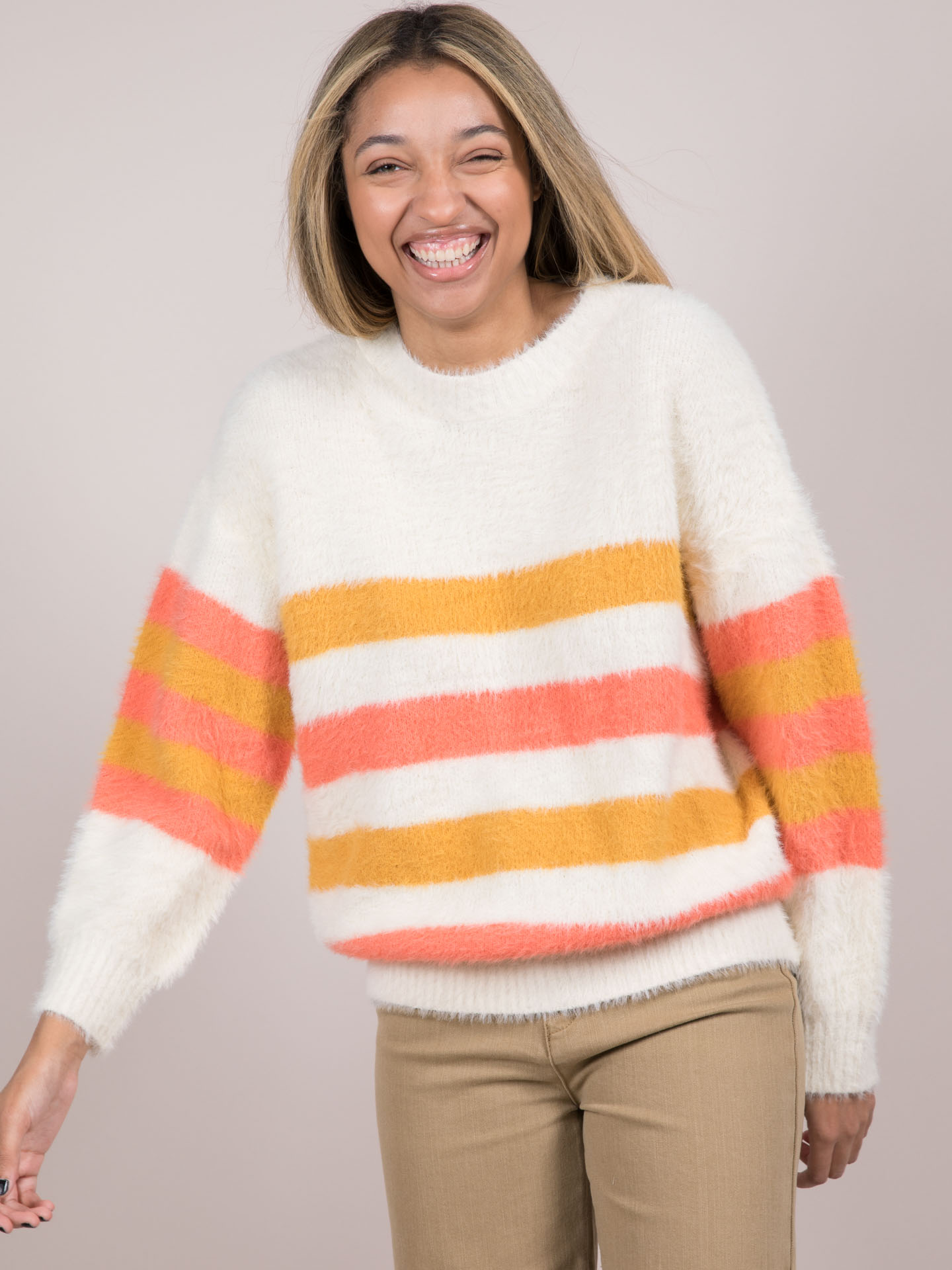 Jayla Sweater Striped Faux Fur Orange