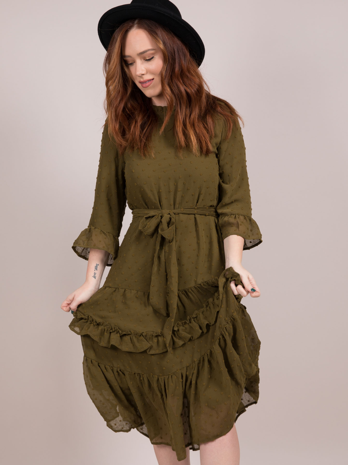 Reese Dress Olive Ruffle Maxi Front