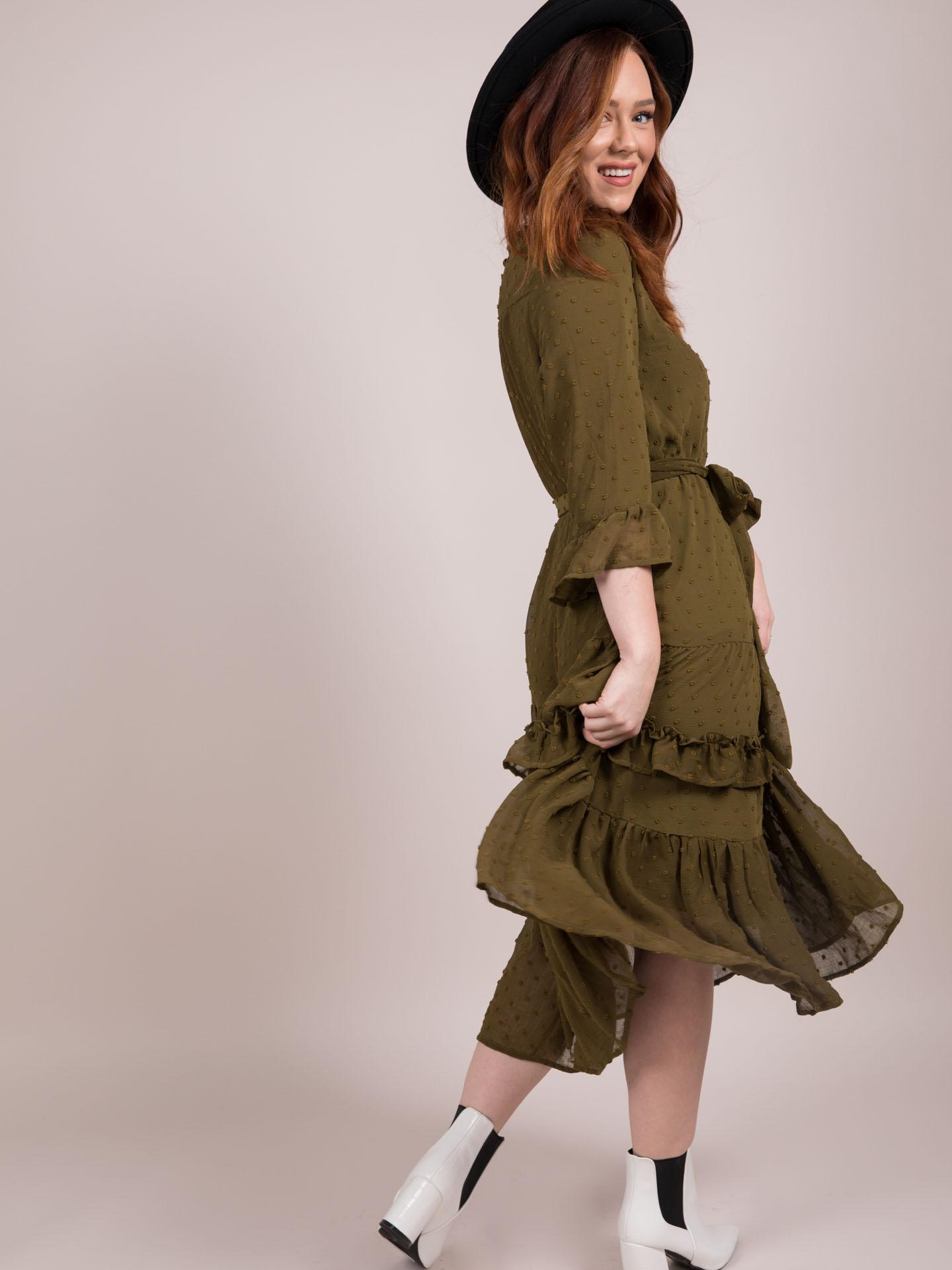 Reese Dress Olive Ruffle Maxi Side