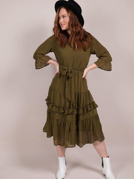 Reese Dress Olive Ruffle Maxi