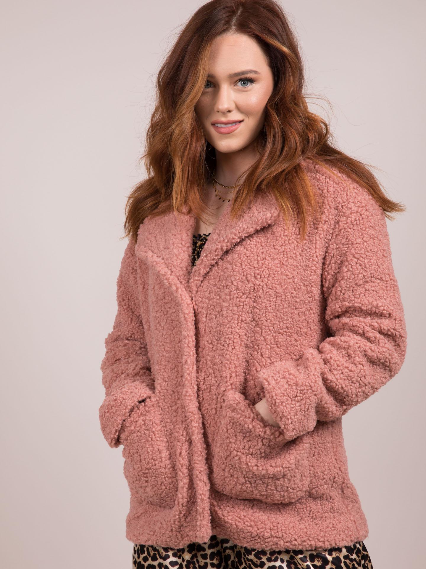 Hope Jacket  Pink Faux Fur Button Coat