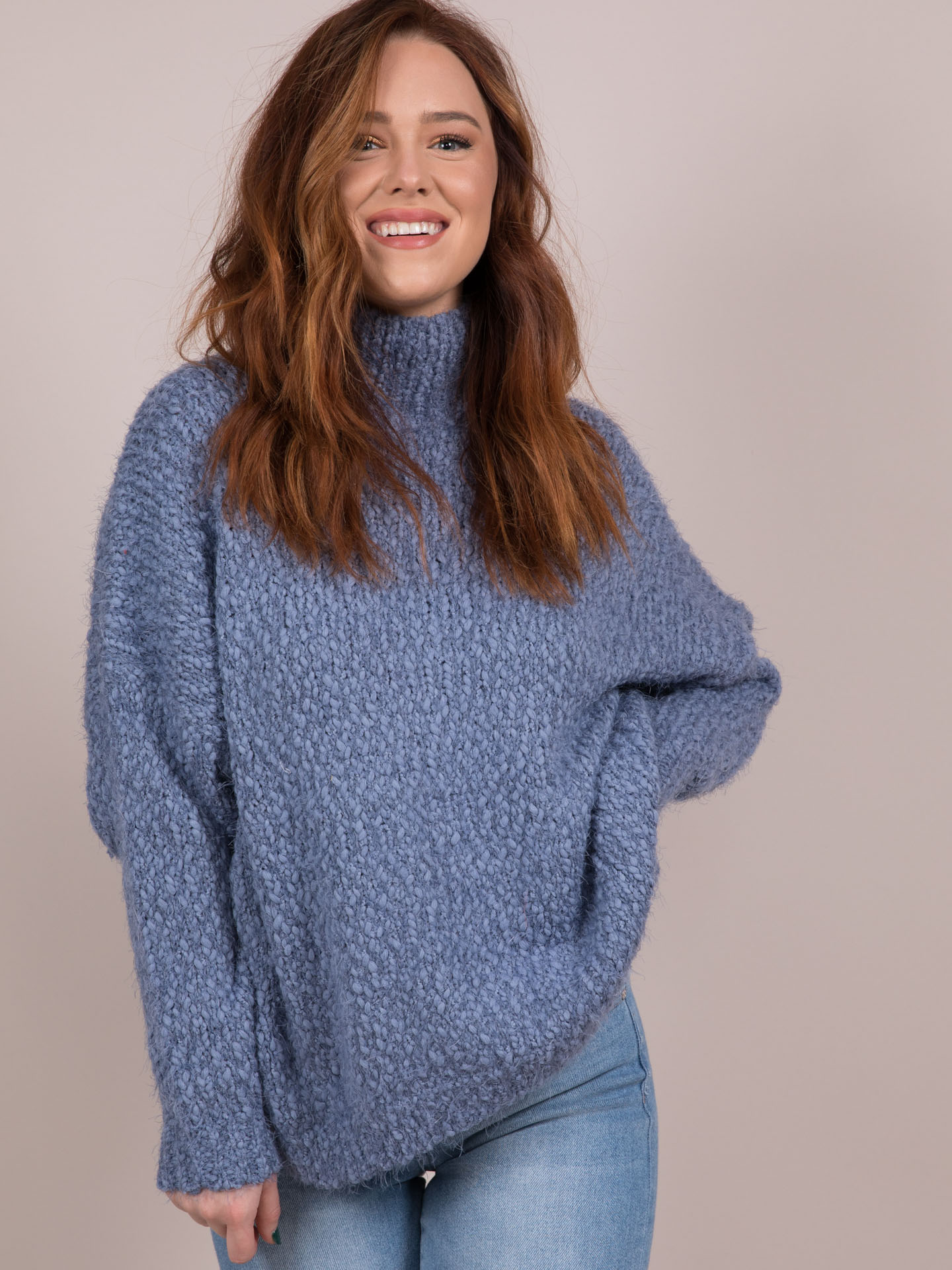 Blakely Blue Turtleneck Sweater Front
