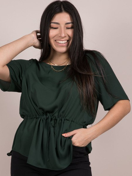 Grayson Top  Synched Waist Forrest Green Blouse