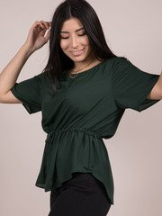 Grayson Top  Synched Waist Forrest Green Blouse Side