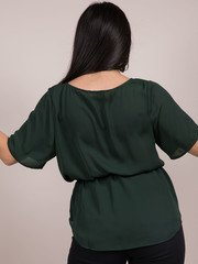 Grayson Top  Synched Waist Forrest Green Blouse Back