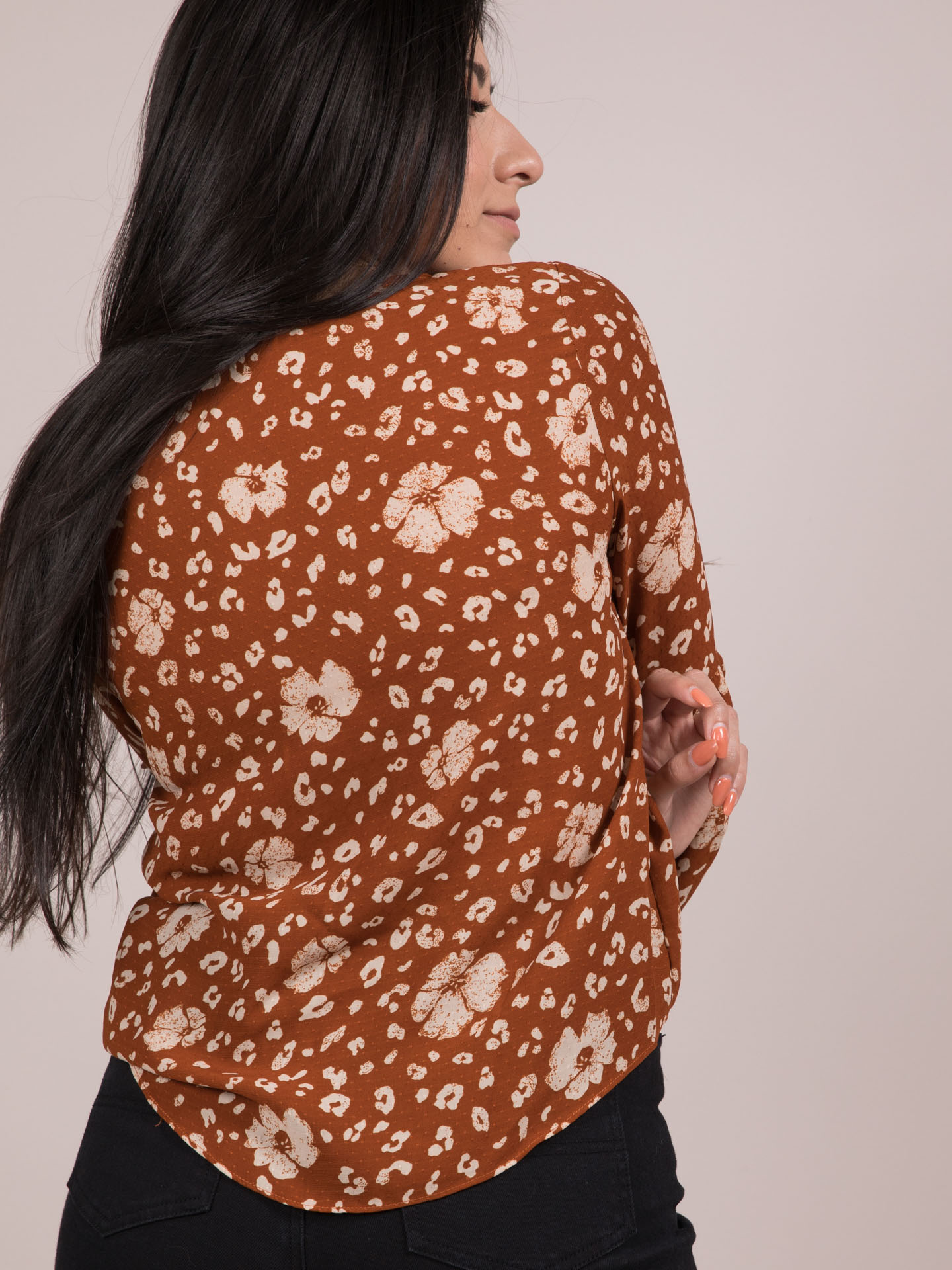 Amara Top Floral Tie Front Long Sleeve Back