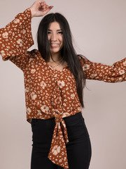 Amara Top Floral Tie Front Long Sleeve