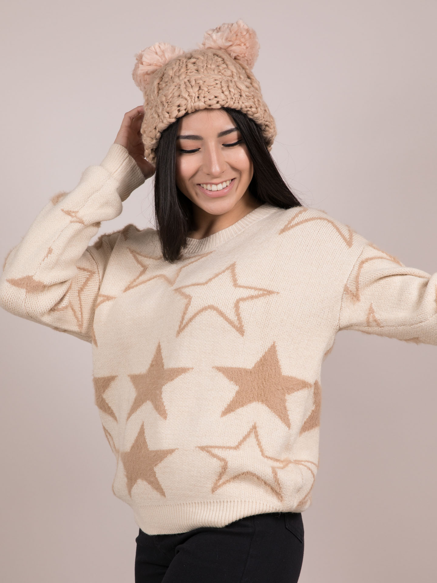 Seeing Stars Sweater Cozy Star Pattern Top Side