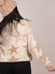 Seeing Stars Sweater Cozy Star Pattern Top Back