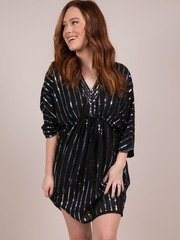 Keep It 100 Dress Sequin Striped Synched Mini