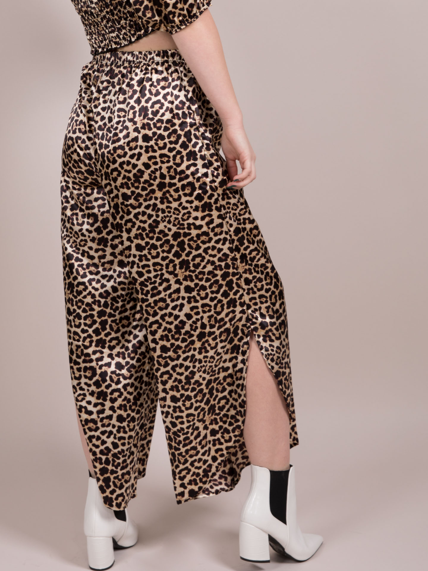 Trinity Leopard Pants High Rise Silk Pants