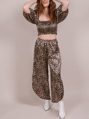 Trinity Leopard Pants High Rise Silk Pants