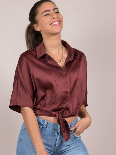 Lizzy Blouse Silk Button Up Crop