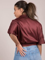 Lizzy Blouse Silk Button Up Crop Back