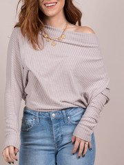 Ash Top Off Shoulder Waffle Knit Front