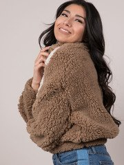 Caelyn Jacket Furry Striped Brown Pullover Side