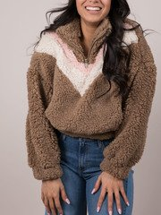 Caelyn Jacket Furry Striped Brown Pullover Front