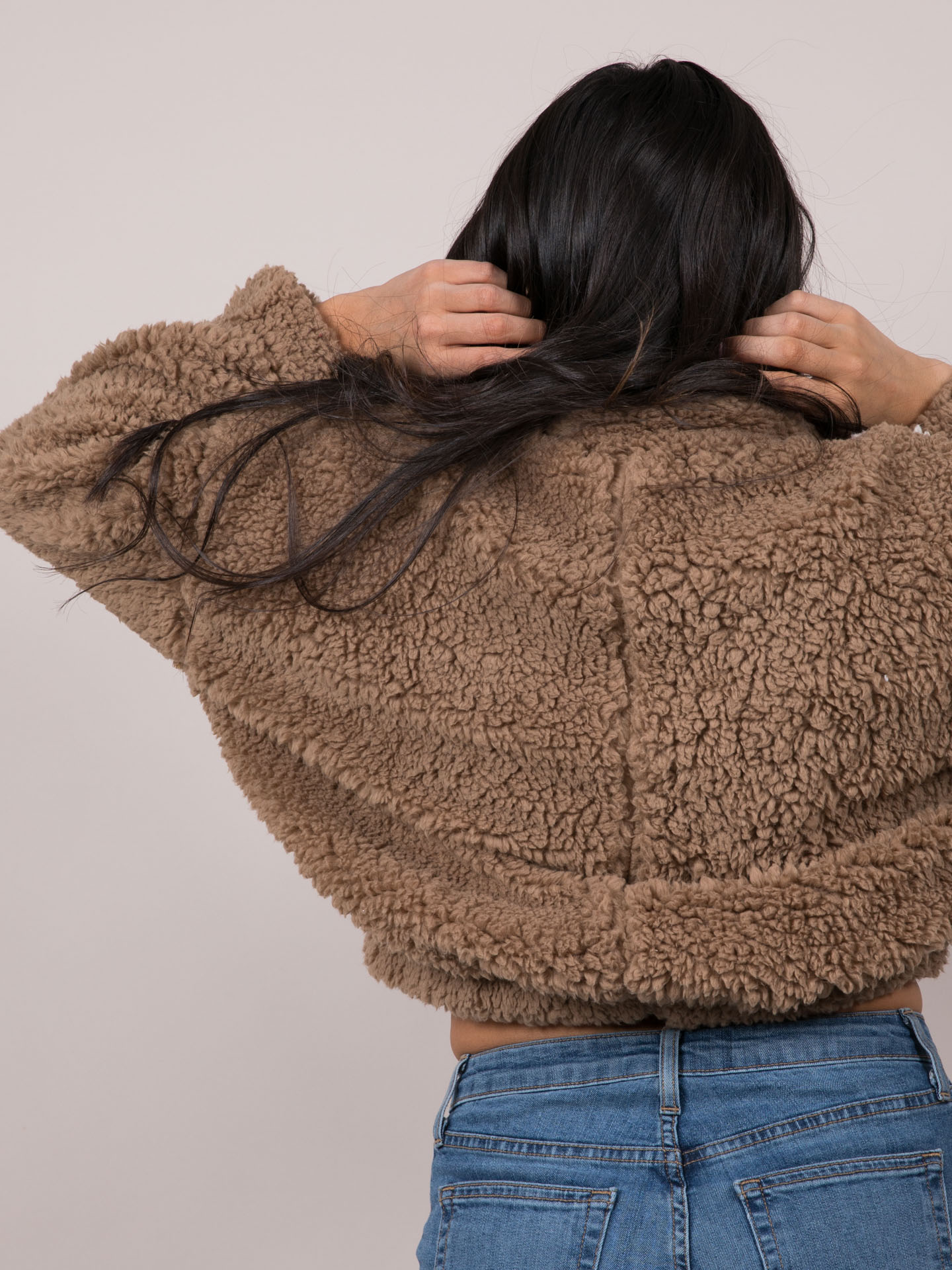 Caelyn Jacket Furry Striped Brown Pullover Back
