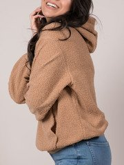 Teddy Hoodie Cozy Brown Pullover Side