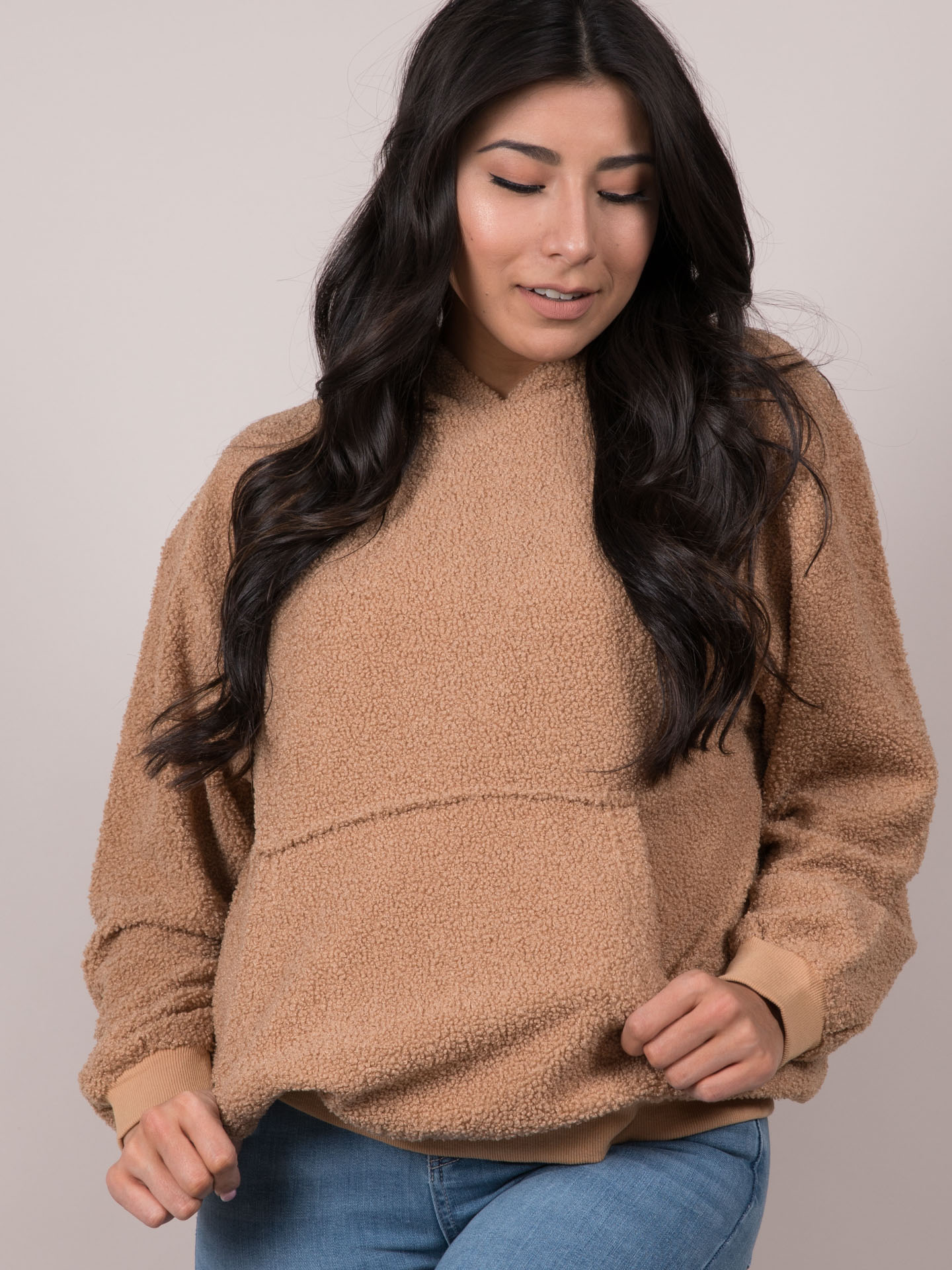Teddy Hoodie Cozy Brown Pullover  Front