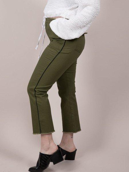 Army Pants  Pin Stripe Dark Green Trousers Side