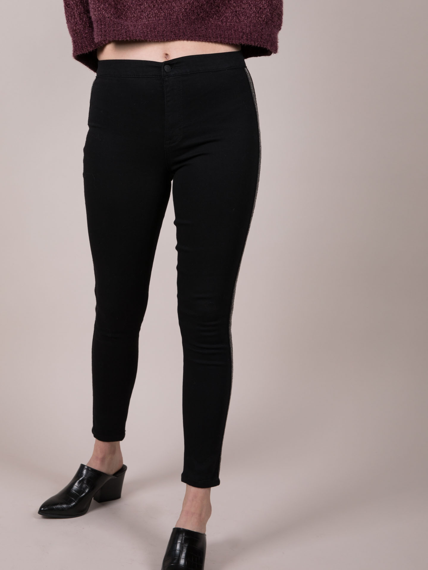 Party Pants Sequin Side Stripe Jean Black