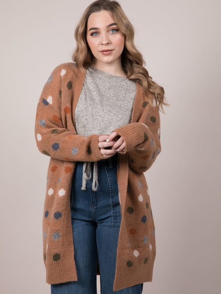 Confetti Cannon Cardigan Dotted Long Layer Front