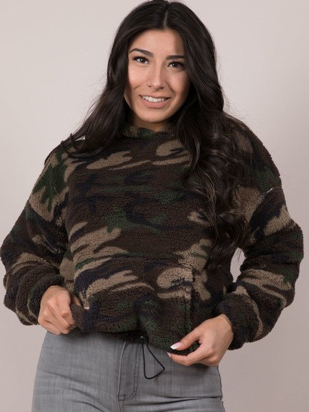 Camo Pullover Cropped Pattern Fur Hoodie Front