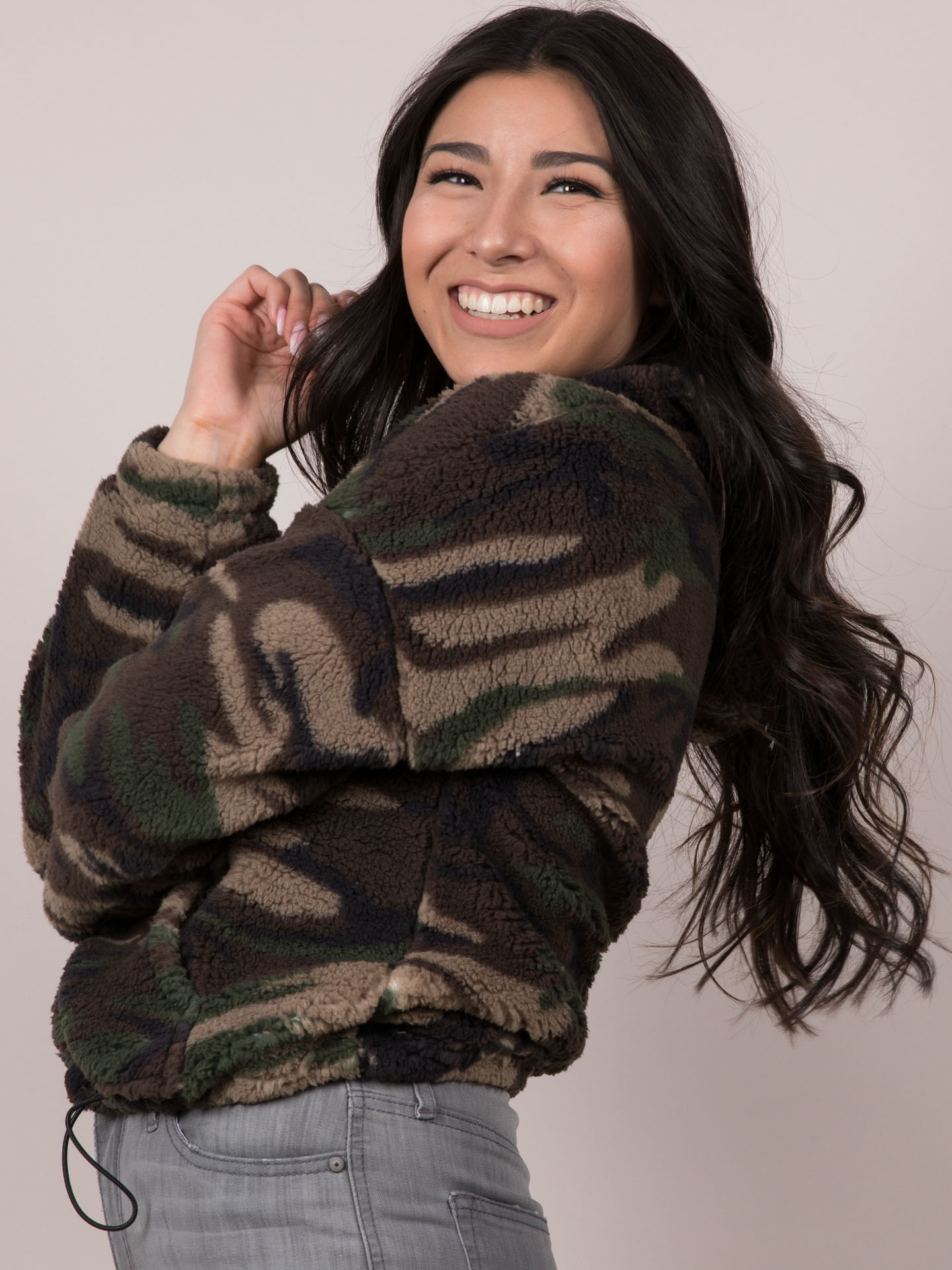 Camo Pullover Cropped Pattern Fur Hoodie Side