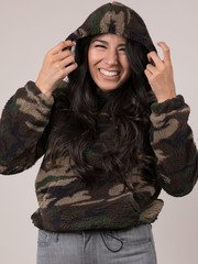 Camo Pullover Cropped Pattern Fur Hoodie